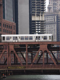 An El Train on the Elevated Train System Crossing Wells Street Bridge, Chicago, Illinois, USA Photographic Print by Amanda Hall