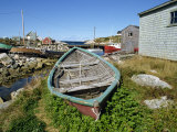 Small Boat on Land in the Lobster Fishing Community, Peggys Cove, Nova Scotia, Canada Photographic Print by Ken Gillham