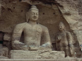 Stone Carved Buddha and Bodhisattva, Cave No.20, Yun Kang Caves, UNESCO World Heritage Site, China Photographic Print by Ursula Gahwiler