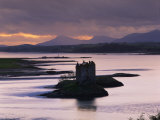 Castle Stalker on Loch Linnhe, Silhouetted at Dusk, Argyll, Scotland, United Kingdom, Europe Photographic Print by Nigel Francis