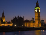 Big Ben and the Houses of Parliament at Night, Westminster, London, England, UK Photographic Print by Amanda Hall