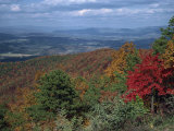 Trees in Fall Colours with Agricultural Land in the Background in Blue Ridge Parkway, Virginia, USA Photographic Print by James Green