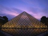 Pyramide Du Louvre Illuminated at Dusk, Musee Du Lourve, Paris, France, Europe Photographic Print by Nigel Francis