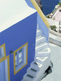 Detail of Brightly Painted House, Oia, Santorini, Cyclades, Greek Islands, Greece, Europe Photographic Print by Lee Frost