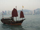 Junk Style Tourist Boat Sailing in Victoria Harbour, Hong Kong, China Photographic Print by Amanda Hall