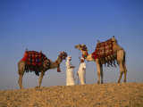Two Guides with Camels, Giza, Cairo, Egypt, North Africa, Africa Photographic Print by Nigel Francis