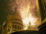 Fireworks over the Sacre Coeur, Montmartre, Paris, France, Europe Photographic Print by Robert Francis