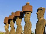 Anakena Beach, Monolithic Giant Stone Moai Statues of Ahu Nau Nau, Rapa Nui, Chile Photographic Print by Gavin Hellier