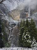 Fresh Snow Fall on Yosemite Falls, Yosemite Valley, Yosemite National Park, California, USA Photographic Print by Kober Christian
