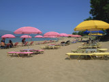 Sun Parasols on Beach, Kastelli, Chania District, Crete, Greek Islands, Greece, Europe Photographic Print by O'callaghan Jane