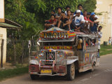 Jeepney Truck with Passengers Crowded on Roof, Coron Town, Busuanga Island, Philippines Photographic Print by Kober Christian