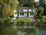 House with Pond in Garden, Coulon, Marais Poitevin, Poitou Charentes, France, Europe Photographic Print by Miller John
