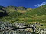 Footbridge over Oxendale Beck Near Crinkle Crags, Lake District National Park, Cumbria, England, UK Photographic Print by Maxwell Duncan