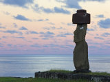 Ahu Ko Te Riku, the Only Topknotted and Eyeballed Moai on the Island, Rapa Nui, Chile Photographic Print by Gavin Hellier