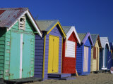 Row of Beach Huts Painted in Bright Colours, Brighton Beach, Near Melbourne, Victoria, Australia Photographic Print by Mawson Mark