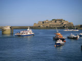Ferry Passing Castle Cornet, St. Peter Port, Guernsey, Channel Islands, United Kingdom, Europe Photographic Print by Lightfoot Jeremy