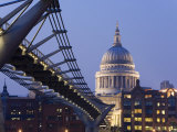 Millennium Bridge and St. Pauls Cathedral, Illuminated at Dusk, London, England, United Kingdom Photographic Print by Gavin Hellier