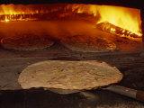 Tarte Flambee Going into the Oven, in France, Europe Fotografisk trykk av Miller John