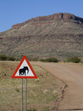 Caution Road Sign, Elephants Crossing, Namibia, Africa Photographic Print by Milse Thorsten