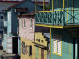 Brightly Painted Architecture, Puerto Plata, Dominican Republic, West Indies, Caribbean Fotografisk trykk av Miller John