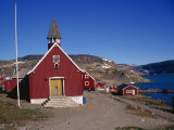 Church at Ittoqqortoormiit, East Greenland, Greenland, Polar Regions Photographic Print by Lomax David