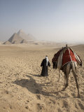 Bedouin Guide and Camel Approaching the Pyramids of Giza, Cairo, Egypt Photographic Print by Mcconnell Andrew
