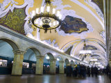 Interior of Komsomolskaya Metro Station, Moscow, Russia, Europe Photographic Print by Lawrence Graham