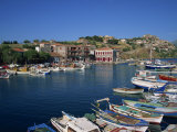 Boats Moored in Harbour at Molyvos, on Lesbos, North Aegean Islands, Greek Islands, Greece, Europe Photographic Print by Lightfoot Jeremy