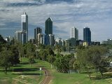 City Skyline Viewed over Park, Perth, Western Australia, Australia, Pacific Photographic Print by Gavin Hellier