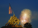 Fireworks over the Iwo Jima Memorial for Independence Day Celebrations, Arlington, Virginia, USA Photographic Print by Hodson Jonathan