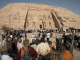Tourists Gather at the Great Temple of Abu Simbel, UNESCO World Heritage Site, Nubia, Egypt Photographic Print by Mcconnell Andrew