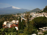 View over Taormina and Mount Etna, Sicily, Italy, Europe Photographic Print by Levy Yadid
