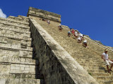 Tourists Climbing El Castillo, Chichen Itza, UNESCO World Heritage Site, Mexico, North America Photographic Print by Miller John