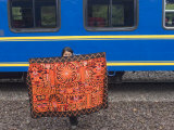 Traditional Blanket for Sale at Train Stop on Way to Machu Picchu, Peru, South America Photographic Print by McCoy Aaron