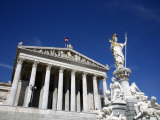 Parliament Building and Athena Statue, Vienna, Austria, Europe Photographic Print by Levy Yadid