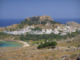 Town and Acropolis of Lindos Town, Rhodes, Dodecanese Islands, Greek Islands, Greece, Europe Photographic Print by Miller John