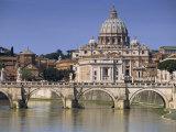 St. Peters and River Tiber, Rome, Lazio, Italy, Europe Fotografisk trykk av Miller John