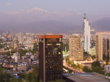 City Skyline and the Andes Mountains at Dusk, Santiago, Chile, South America Photographic Print by Gavin Hellier