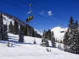 Chair Lift Carries Skiers at Alta, Alta Ski Resort, Salt Lake City, Utah, USA Photographic Print by Kober Christian