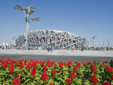 Flowers and the Birds Nest National Stadium in the Olympic Green, Beijing, China Photographic Print by Kober Christian