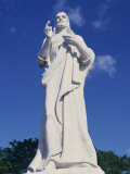 White Stone Statue of Jesus Christ in Havana, Cuba, West Indies, Central America Photographic Print by Mawson Mark