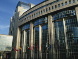 Flags Outside the European Commission and Parliament Buildings in Brussels, Belgium, Europe Photographic Print by Hughes David