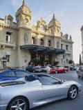 Casino and Ferrari, Monte Carlo, Monaco, Europe Fotografisk trykk av Miller John