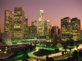 Los Angeles Skyline and Freeways, Illuminated at Night, California, USA Photographic Print by Howell Michael
