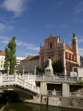 Triple Bridge and Franciscan Church of the Annunciation, Ljubljana, Slovenia, Europe Photographic Print by Lawrence Graham