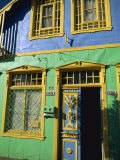 Detail of Painted Building Facade, Castro, Chiloe Island, Chile, South America Photographic Print by Mcleod Rob