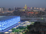 Water Cube National Aquatics Center and National Stadium at the Olympic Park, Beijing, China Photographic Print by Kober Christian