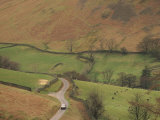 Aerial View over Rural Road and Fields, Martindale, Lake District, Cumbria, England, United Kingdom Photographic Print by Hughes David