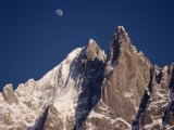 Jagged Peak of Aiguille Du Dru and the Moon, Chamonix, Rhone Alpes, France, Europe Photographic Print by Hart Kim