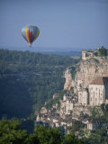 Hot Air Balloon Above the Valley at Rocamador in the Dordogne Area of the Midi Pyrenees, France Photographic Print by Harding Robert